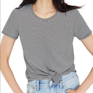 Madewell Cotton Knot Front Striped Tee